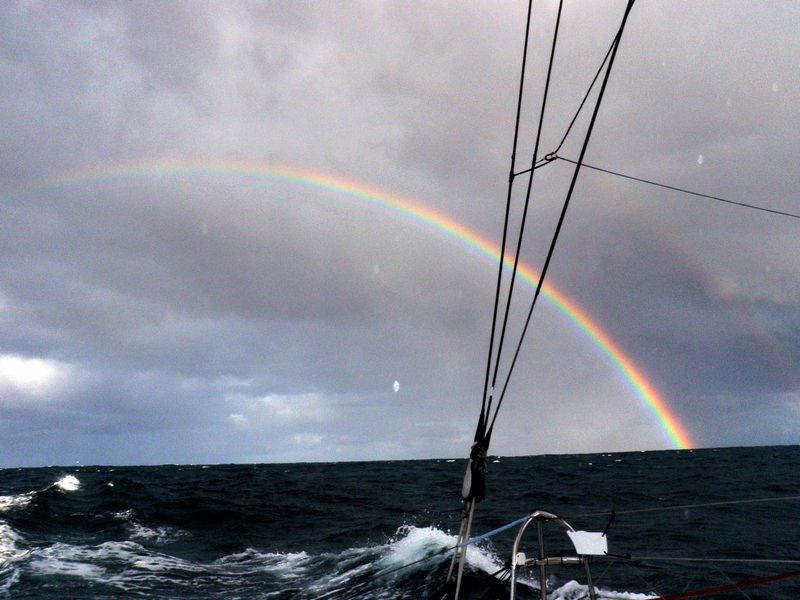Rainbow for the crew of Renault (Photo courtesy of Renault / Barcelona World Race )
