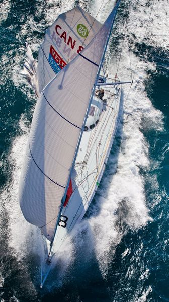 Derek Hatfield onboard his yacht Activehouse at the start of Ocean Sprint 3,
