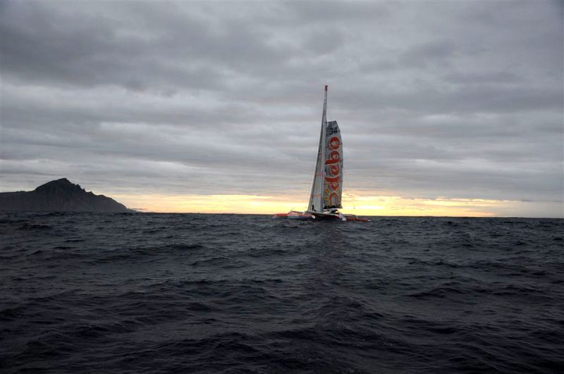 Thomas Coville on Sodebo Passing Cape Horn within metres of Neutrogena (Photo courtesy of Team Neutrogena/Barcelona World Race)