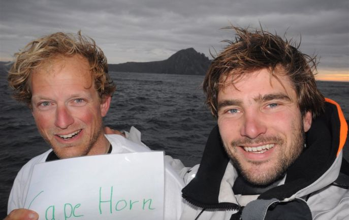 Ryan Breymaier, with co-skipper Boris Herrmann (Photo courtesy of Team Neutrogena?Barcelona World Race)
