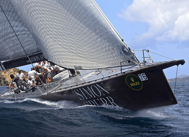 GENUINE RISK, Sail No: USA 8390, Owner: Hugo Stenbeck, Home Port: Kings Point, NY, USA, Design: Canting Keel Maxi, Division: IRC 1 (Photo by Rolex / St. Thomas Yacht Club / Ingrid Abery )