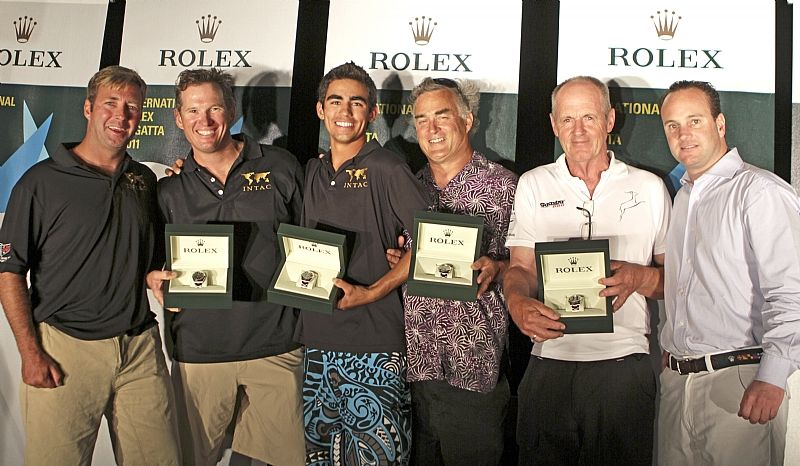 Prizegiving at the St. Thomas Yacht Club, and the winners are Left to right: Mark Plaxton, Ben Beer, William Bailey, Jeff Price, Willem Wester and Lionel Schürch, Rolex Geneva (Photo by Rolex / St. Thomas Yacht Club / Ingrid Abery)