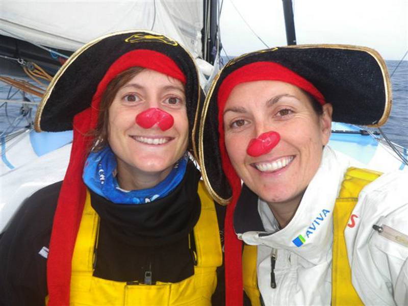 Anna Corbella and Dee Caffari with red noses (Photo courtesy of Dee Caffari Racing)