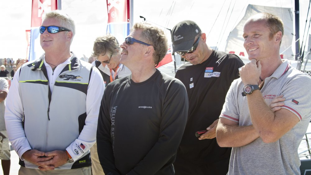 Skippers Brad Van Liew, Derek Hatfield, Zbigniew Gutkowski and Chris Stanmore-Major ahead of the start of ocean sprint four from Punta del Este, Uruguay to Charleston SC. (Photo by Ainhoa Sanchez/w-w-i.com)