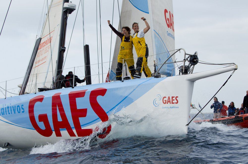 British yachtswoman Dee Caffari (38) and Spanish co skipper Anna Corbella (34) crossed the finish line of the Barcelona World Race at 09.17.18 (GMT) on 13 April 2011 after 102 days at sea onboard their yacht, GAES Centros Auditivos. (Photo by onEdition)