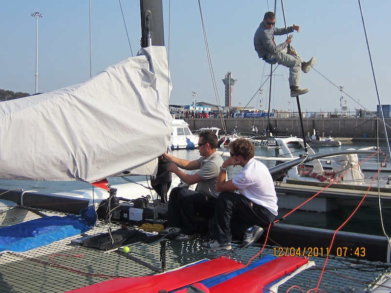 The Luna Rossa Team preparing for racing (Photo courtesy of Extreme Sailing Series)
