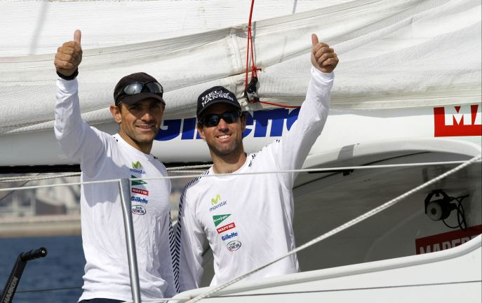 Iker Martinez and Xabi Fernadez  Take Second In The Barcelona World Race On Mapfre ( Photo by Nico Martinez / Barcelona World Race )