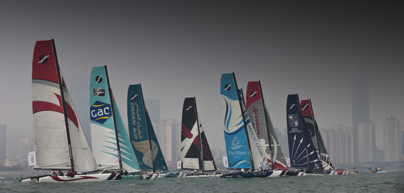 The Fleet On Day 2 Racing Close to city (Photo by Lloyd Images)