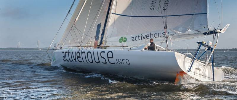 Derek Hatfield onboard his yacht Activehouse finishing Ocean Sprint 4, from Punta del Este Uruguay to Charleston, USA in second place. (Photo by Ainhoa Sanchez/w-w-i.com)