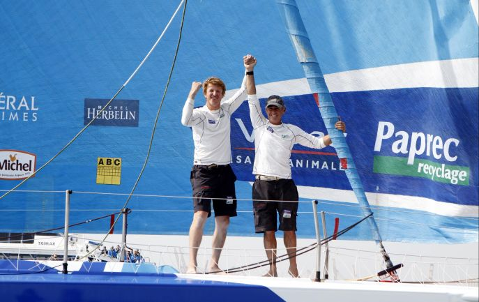 Jean-Pierre Dick (45) and Loïck Peyron (51) have won the second edition of the Barcelona World Race on Virbac-Paprec 3 (Photo by Nico Martinez / Barcelona World Race)