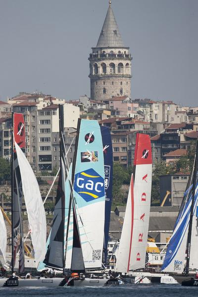 Extreme Sailing Series Fleet in front of Galata Tower, Istanbul, Turkey (Photo by Lloyd Images)