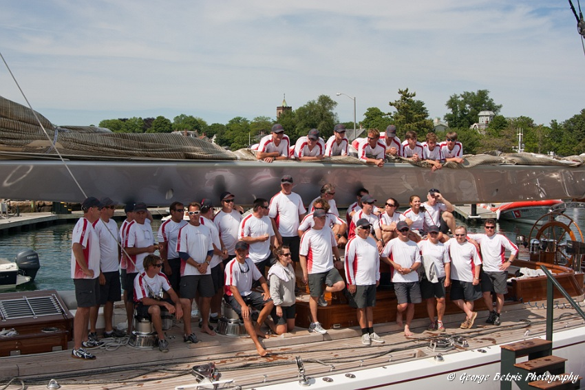 Crew of Ranger in 2011 after winning the Newport J-Class Regatta (Photo by George Bekris)