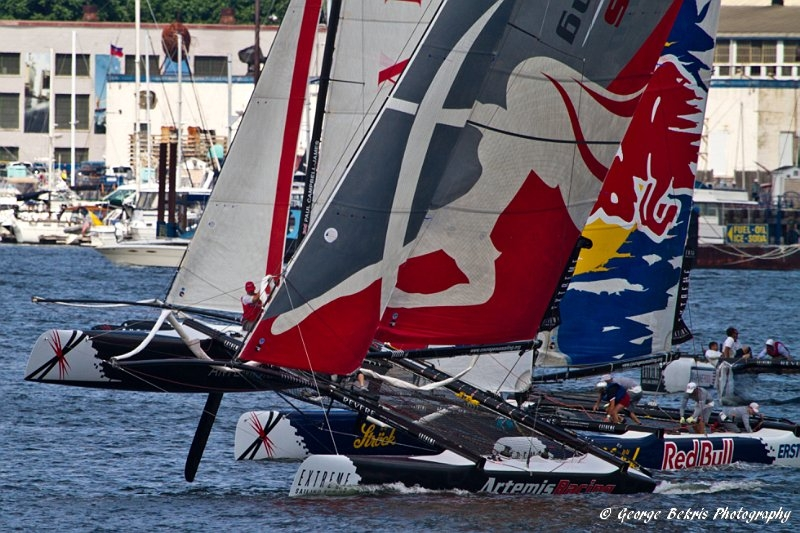 Extreme Sailing Series Boston  Artemis and Red Bull (Photo © George Bekris)