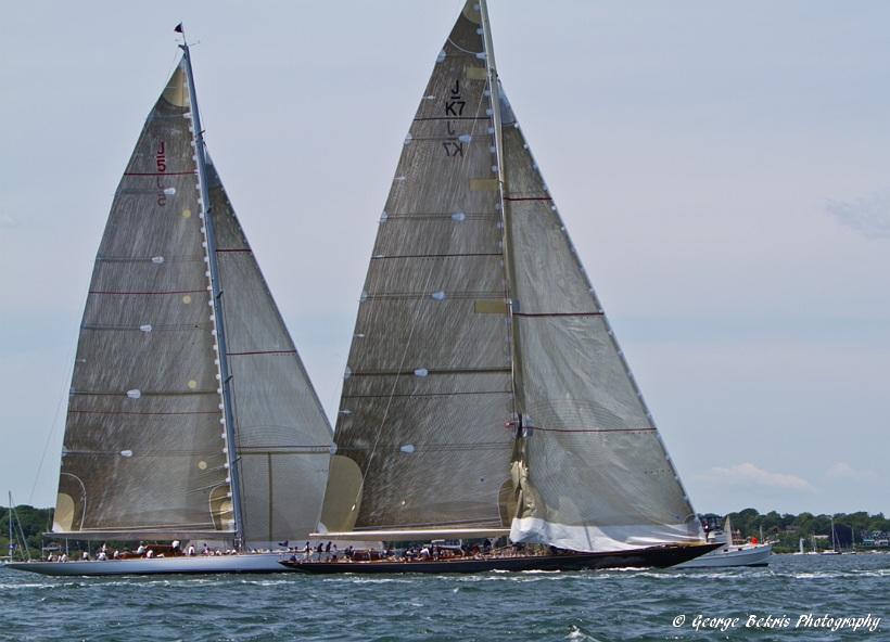 Velsheda and Ranger upwind battle (Photo by George Bekris)
