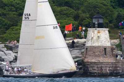 Carina passes Castle Hill Lighthouse At Transatlantic Race Start ( Photo by Amory Ross / Transatlantic Race 2011 )