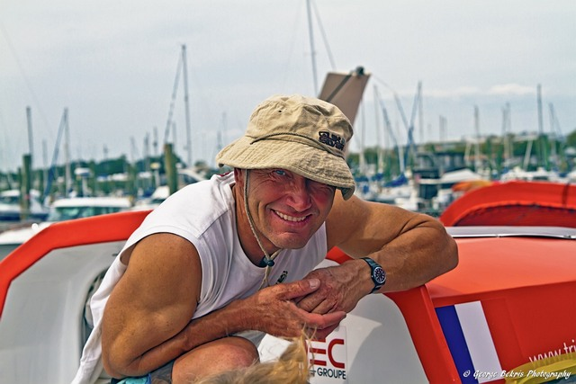 Francis Joyon in New York for Transatlantic record attempt. ( Photo by George Bekris )