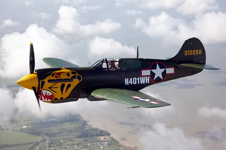 P-40K Aleutian Tiger will be one of the six WWII vintage aircrafts flying in the Newport Bucket Airshow (photo credit Texas Flying Legend Museum)