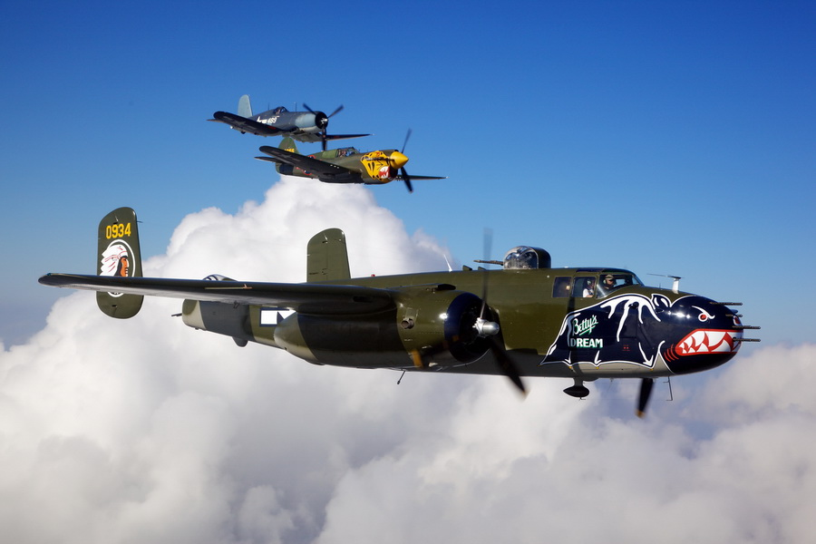 Mitchell B-25 Bomber Betty's Dream leads the pack (photo credit Texas Flying Legend Museum)