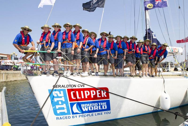 Geraldton Western Australia crew onboard before starting the race at Ocean Village, Southampton  (Photo by onEdition)