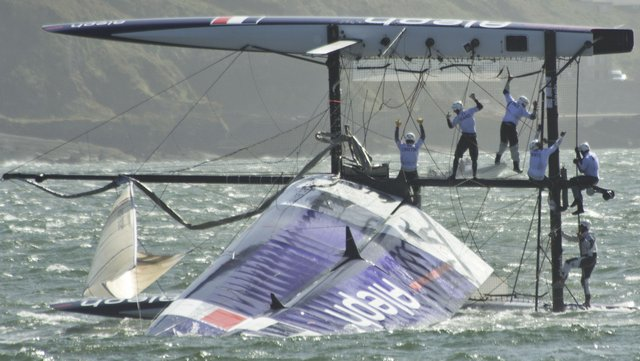 French Crew on Capsized Aleph (Photo by James Avery)