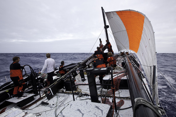 Jury Rigged Sail on PUMA Ocean Racing about 2,150 nautical miles from Cape Town, South Africa. (Photo by  Amory Ross/PUMA Ocean Racing/Volvo Ocean Race)