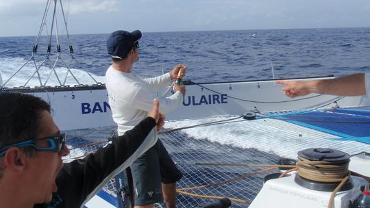 Banque Populaire Crew celebrate breaking the equator to equator record (Photo courtesy of BPCE)
