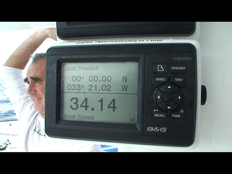 Loick Peyron smiles as Banque Populaire crosses the equator setting a new record (Photo courtesy of BPCE)