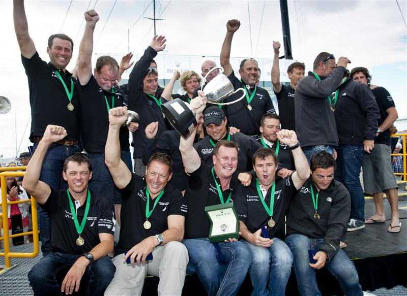 Investec Loyal Crew Celebrates Taking Line Honours (Photo by Rolex / Daniel Forster)