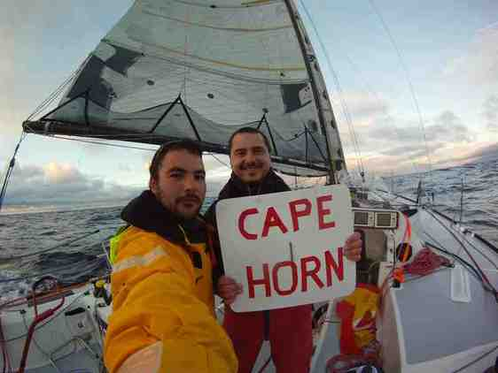 Marco Nannini and Hugo Ramon round Cape Horn with Class40 Financial Crisis (Photo courtesy of Global Ocean Race)