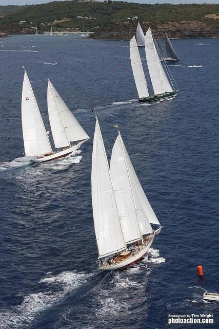 Superyacht Start. Windrose, Adela, Hetairos, Sojana and P2 line up for the start. (Photo by Tim Wright)