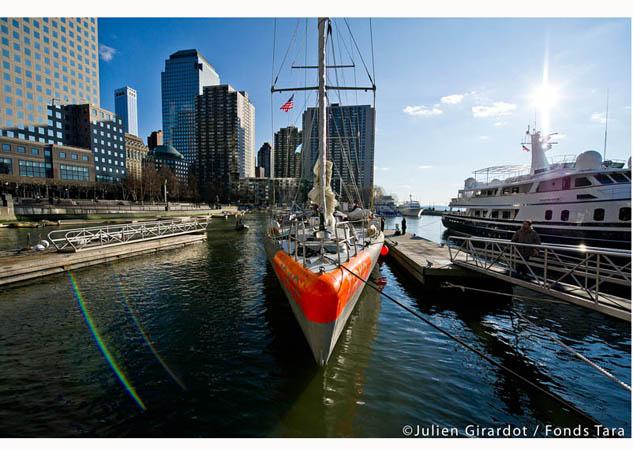 Tara docked at North Cove in Battery Park NYC (Photo by by Julien Girardot / Tara Expeditions)