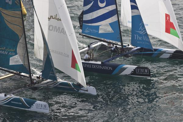 Extreme Sailing Series 2012. Act 1.Oman Final day of racing close to the shore.The Wave Muscat.   (Photo by Lloyd Images)