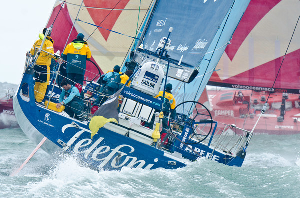 Team Telefonica, skippered by Iker Martinez from Spain, at the start of leg 5 of the Volvo Ocean Race 2011-12, from Auckland, New Zealand to Itajai, Brazil. (Photo by Marc Bow / Volvo Ocean Race)