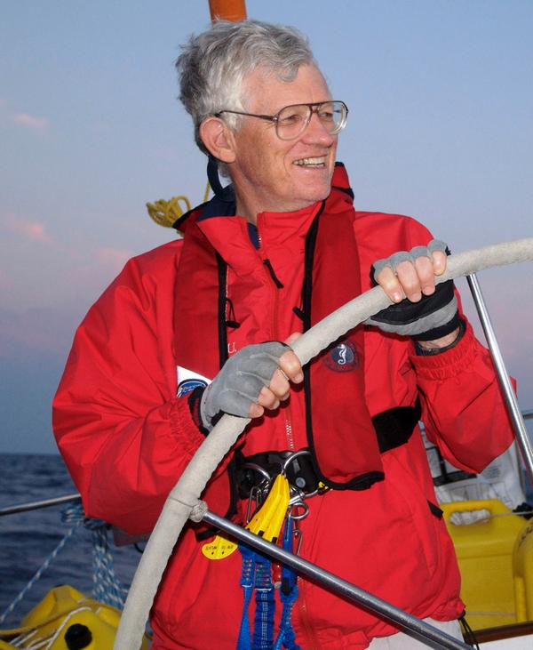 John Rousmaniere at Helm (Photo by Richard Pisano)
