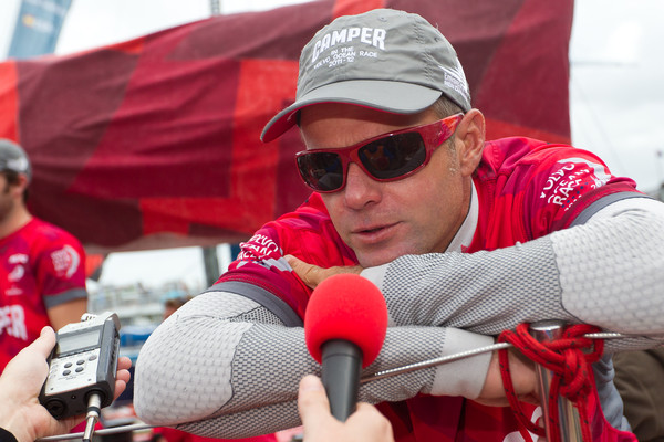 CAMPER with Emirates Team New Zealand, skipper Chris Nicholson from Australia is interviewed on the dock after winning the Auckland In-Port Race. (Credit: IAN ROMAN/Volvo Ocean Race)