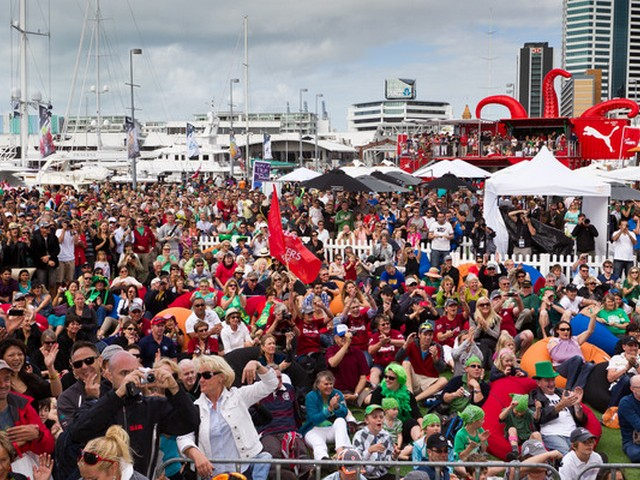 Thousands of spectators turn out in the race village to watch the Auckland In-Port Race, during the Volvo Ocean Race 2011-12. (Photo by Ian Roman / Volvo Ocean Race)