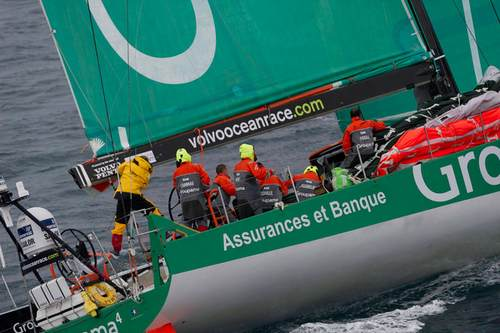 Groupama Sailing Team, skippered by Franck Cammas from France in tough conditions, at the start of leg 5 from Auckland, New Zealand to Itajai, Brazil, during the Volvo Ocean Race 2011-12. ( Photo by Paul Todd / Volvo Ocean Race )
