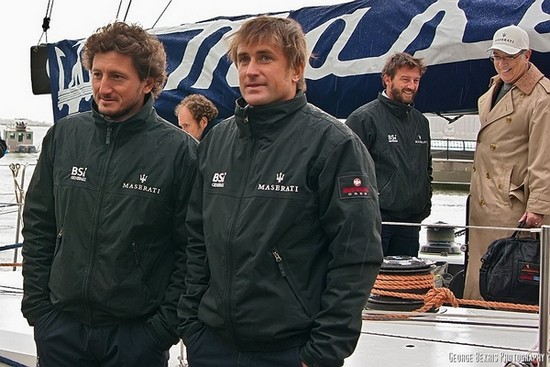 Maserati crew members Corrado Rossignoli, Gabriele Olivo and skipper Giovanni Soldini  (Photo by George Bekris)