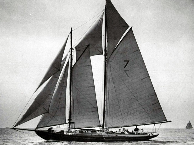 Malabar VII, sailed by her designer John G. Alden, won the 1926 Bermuda Race sailed in that year from New London CT. She took the Royal Bermuda Yacht Club Bermuda Race Trophy as her prize. This was the first year the Cruising Club of America teamed up with the Royal Bermuda Yacht Club as co-organizers. In 1936 the starting line was moved to Newport RI and the race became the Newport Bermuda Race as it is known today.  (Photo courtesy of Alden Yachts)