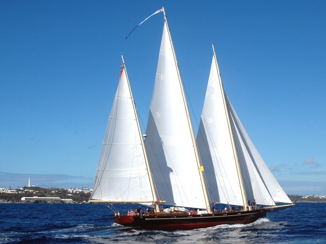 "The Bermuda Sailing Foundation's sail-training schooner Spirit of Bermuda will join the 2012 Newport Bermuda Race fleet, sailing as the sole entry in the new ""Spirit of Tradition"" Division. Because of Spirit of Bermuda's three-mast schooner rig, she is unable to be fairly and officially rated for competition against the modern design boats that make up the rest of the fleet, and so will sail in a class by herself. Her ""Spirit of Tradition"" Division will highlight both her traditional design and the prevalence of the schooner rig in yachts racing in the early years of the Newport Bermuda Race. http://www.bermudasloop.org/)  (Photo by John Wadson)"