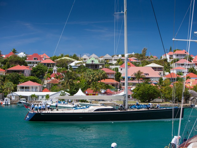 Nilaya heads out for practice prior to the start of Les Voiles de St Barth © Christophe Jouany / Les Voiles de St. Barth