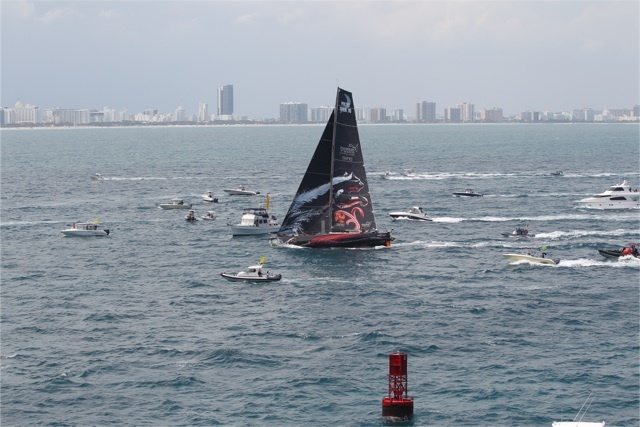 PUMA Ocean Racing Crosses the Leg 6 Finish line in Miani, USA (Photo by Ian Roman/Volvo Ocean Race)