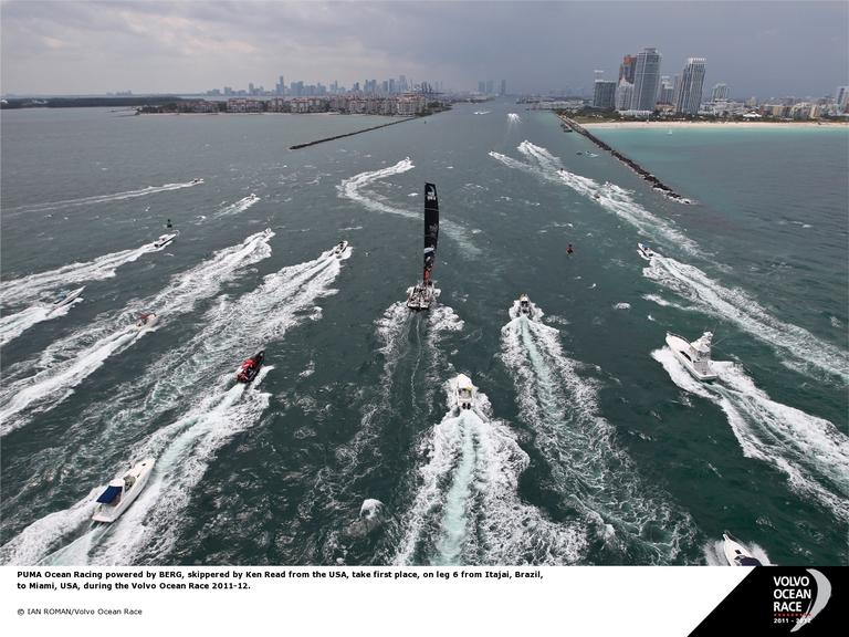 PUMA Ocean Racing first into Miami (Photo by Ian Roman/Volvo Ocean Race)