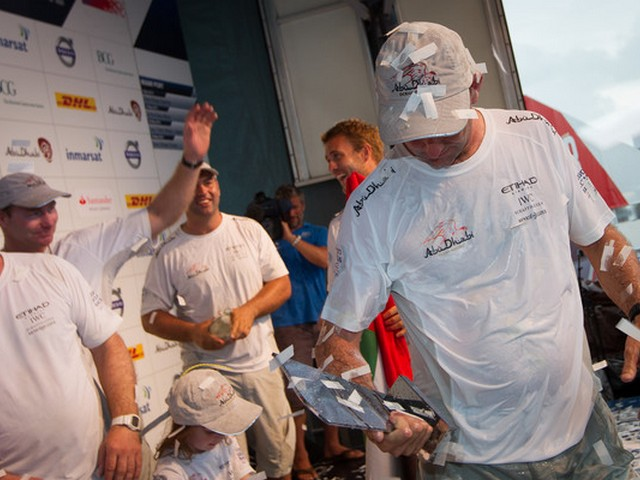 Abu Dhabi Ocean Racing, skippered by Ian Walker from the UK celebrate taking first place, in the PORTMIAMI In-Port Race, during the Volvo Ocean Race 2011-12. (Photo by  IAN ROMAN/Volvo Ocean Race)