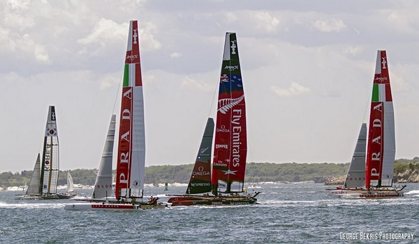 AC 45's Practice Spar In Newport, RI (Photo by George Bekris)