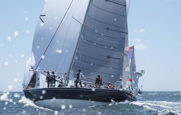 Carina -USA 315 - McCurdy & Rhodes 48 yacht skippered by  A Rives Potts Jnr, making the most of the blustery conditions.  Carina is the provisional winner of the principal St David's Lighthouse Trophy for the third time.(Photo by  Barry Pickthall / PPL)