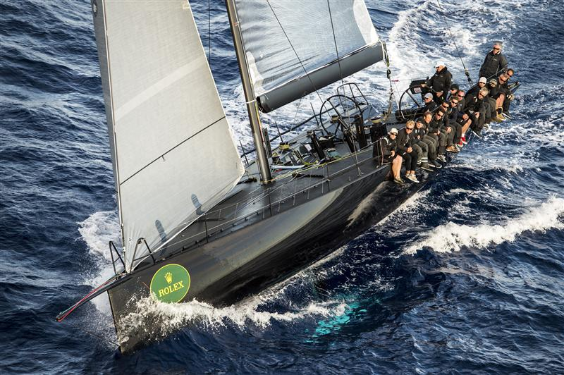 JETHOU (GBR) races upwind to the finish in Capri, Leg Two (Photo Rolex / Kurt Arrigo)