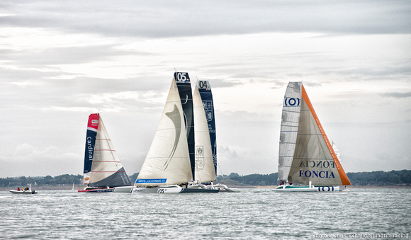Spindrift racing MOD70 N°05 sailing at the Tour de Belle-Ile regatta. (Photo by Chris Schmid /Spindrift Racing)