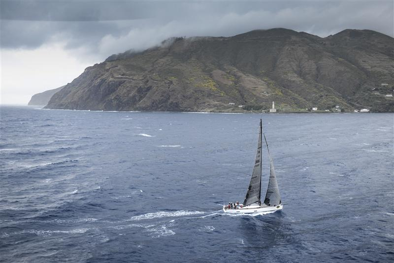 TWIN SOUL 6 (ITA) sails passed Salina and heads towards the island of Vulcano, Leg Two (Photo by Rolex / Kurt Arrigo)
