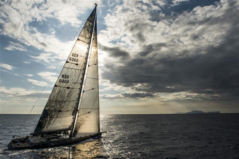 Y3K (GER), arrives Capri after the 300 nautical-miles of Leg Two (Photo by  Rolex / Kurt Arrigo)